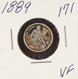 1889 - SEATED LIBERTY DIME - VF