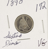 1890 - SEATED LIBERTY DIME - VG