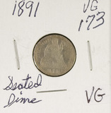 1891 - SEATED LIBERTY DIME - VG