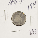 1891-S SEATED LIBERTY DIME - VG