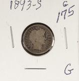 1893-S BARBER DIME - G
