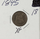 1845 - SEATED LIBERTY DIME - XF