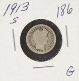 1913-S BARBER DIME - G
