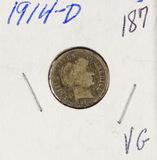 1914-D BARBER DIME - VG