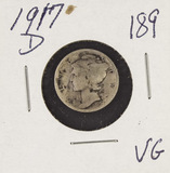 2-COIN LOT 1917-D VG & 1917-S VGG MERCURY DIMES
