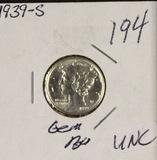 1939-S MERCURY DIME - UNC
