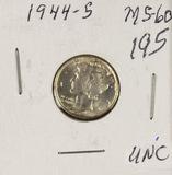 1944-S MERCURY DIME - UNC