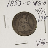 1853-O SEATED LIBERTY QUARTER - VG