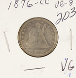 1876-CC SEATED LIBERTY QUARTER - VG
