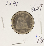 1891 - SEATED LIBERTY QUARTER -VG