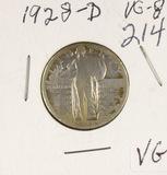 1928-D STANDING LIBERTY QUARTER - VG
