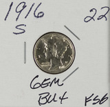 1916-S MERCURY DIME - BU - FULL SPLIT BANDS