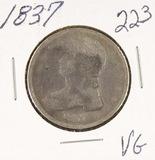 1837 - CAPPED BUST HALF DOLLAR - VG