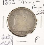 1853 - SEATED LIBERTY HALF DOLLAR - F
