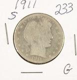 1911-S (WEAK) BARBER HALF DOLLAR - G