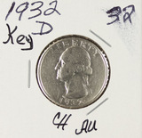 1932-D WASHINGTON QUARTER - CH AU - KEY