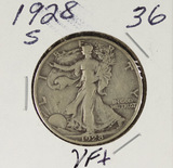 1928-S WALKING LIBERTY HALF DOLLAR - VF