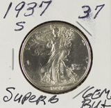 1937-S WALKING LIBERTY HALF DOLLAR - GEM BU