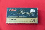 1 Box of 50, PMC Bronze, 25 Auto 50 gr FMJ