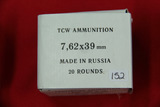 1 Box of 20, TCW 7.62 x 39 MM Russia