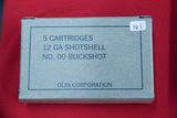 1 Box of 5, Olin, 12 ga #00 Buckshot