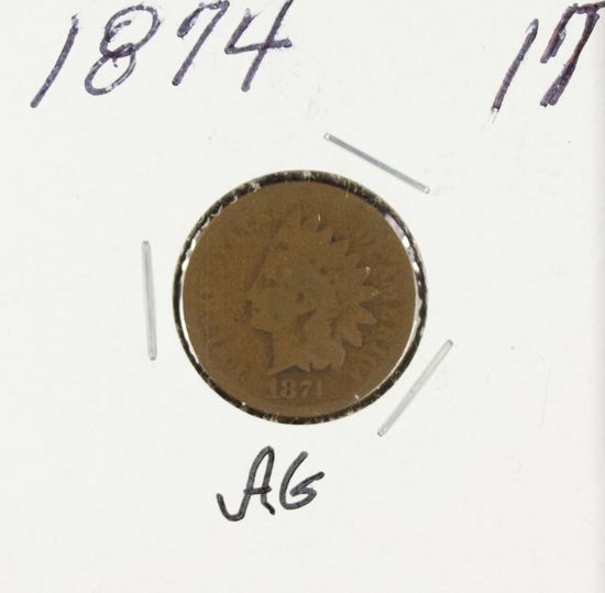 1874 - INDIAN HEAD CENT -AG