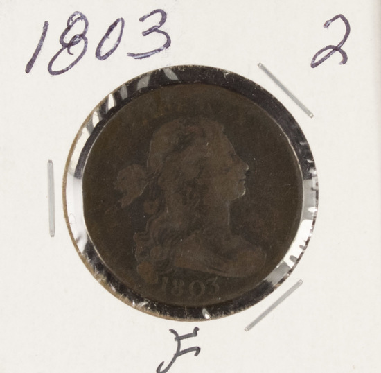 1803 - DRAPED BUST LARGE CENT - F