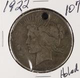 1922 - PEACE DOLLAR - HOLED