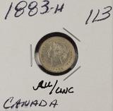 1883-H SILVER CANADIAN FIVE CENTS - AU/UNC