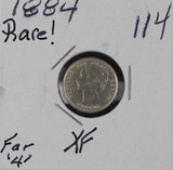 1884-FAR 4 SILVER CANADIAN FIVE CENTS - XF - RARE