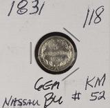 1831 - NASSAU 3 KREUZER - UNC - KM #52