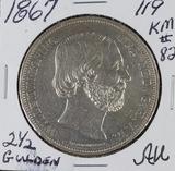 1867 - NETHERLANDS 2 1/2 GULDEN - AU KM #82
