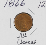 1866 - INDIAN HEAD CENT - AU/CLEANED