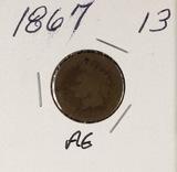 1867 - INDIAN HEAD CENT - AG