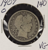 1907-O BARBER HALF DOLLAR - VG