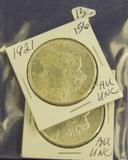 LOT OF 2 - 1921 MORGAN DOLLARS - AU
