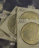 LOT OF 4 - 1921  MORGAN DOLLARS - UNC