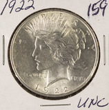 LOT OF 2 - 1922 PEACE DOLLARS - UNC