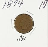 1874 - INDIAN HEAD CENT -AG