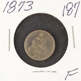 1873 - SEATED LIBERTY DIME - F