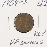 1909-S VDB LINCOLN CENT - VF - DETAILS KEY