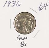 1936 - BUFFALO NICKEL - GEM BU