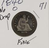 1840-O (NO DRAPERY) - SEATED LIBERTY QUARTER - F