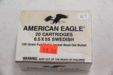 1 Box of 20, American Eagle 6.5x55 Swedish