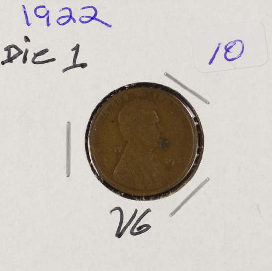1922 DIE 1 - LINCOLN CENT - VG