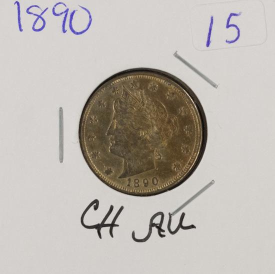 """1890 - LIBERTY HEAD """"V"""" NICKEL - CH AU"""