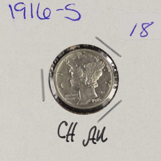 1916-S MERCURY DIME - CH AU