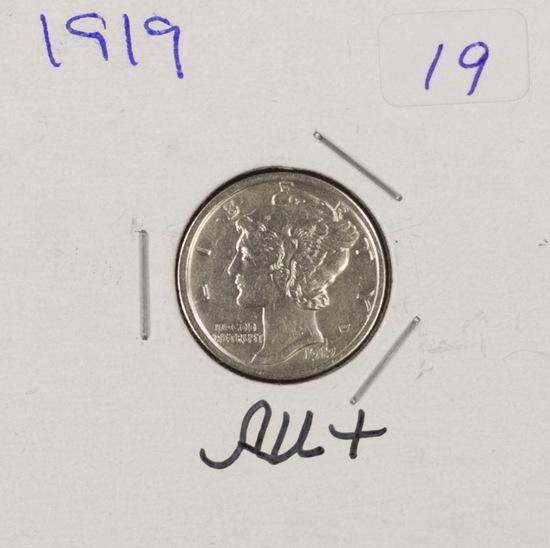 1919-D MERCURY DIME - AU+