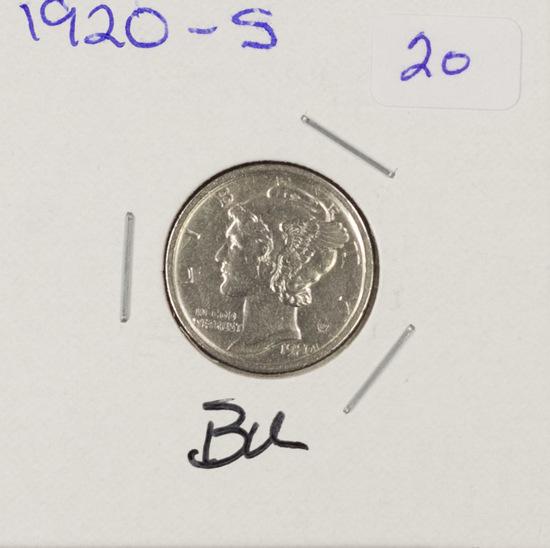 1920-S MERCURY DIME - BU