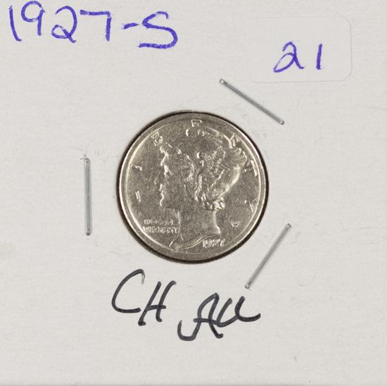 1927-S MERCURY DIME - CH AU